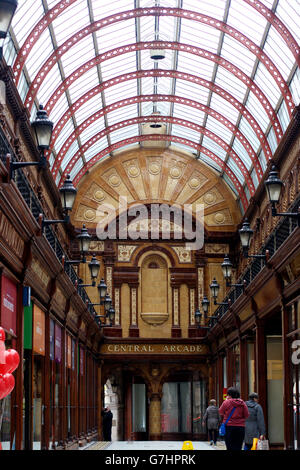 Central Arcade in Newcastle: shopping centre built in 1906 - Stock Photo