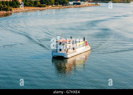 Touristic Pleasure Boat Near Harbour Of Helsinki, Finland. Summer Day. Travel in Finland. - Stock Photo