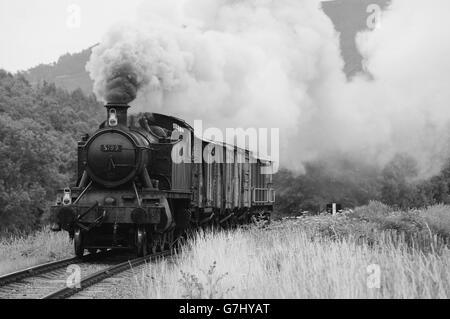 Locomotive on Llangollen Steam Railway - Stock Photo