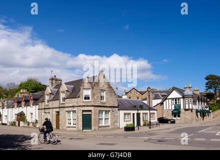 A949 crossroads in centre of historic town. Station Road, Royal Burgh of Dornoch, Sutherland, Highland Region, Scotland, - Stock Photo