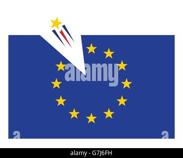 one star flying out from europian union flag vector illustration - Stock Photo