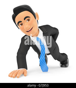 3d business people illustration. Businessman doing push ups with one hand. Isolated white background. - Stock Photo