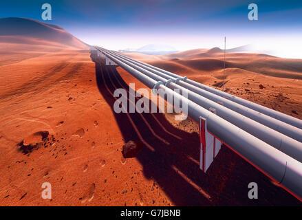 Pipeline on Mars - Stock Photo