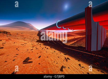 Pipeline on Mars - Stock Photo