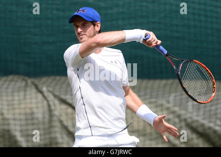 Andy Murray practices during a preview day at the The All England Lawn Tennis and Croquet Club, London. PRESS ASSOCIATION - Stock Photo