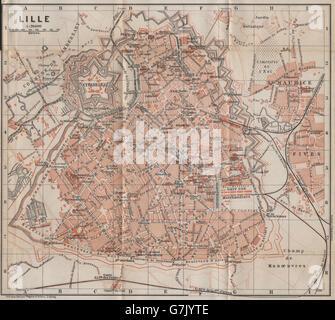 LILLE antique town city plan de la ville BAEDEKER 1909 old map Nord carte