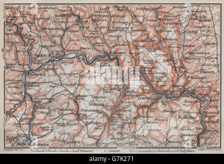 SAUER/Sûre RIVER VALLEY. ECHTERNACH Environs. Luxembourg/Germany carte, 1910 map - Stock Photo