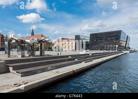 The Royal Library (Det Kongelige Bibliotek) also called The Black Diamond Søren Kierkegaards Plads Copenhagen Denmark - Stock Photo