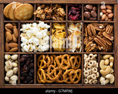 Variety of healthy snacks overhead shot - Stock Photo