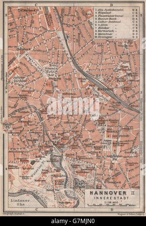HANNOVER INNERE STADT town city plan II Hanover Lower Saxony karte