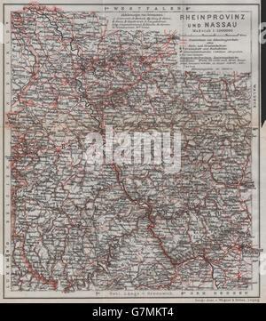 RHEINPROVINZ & NASSAU. Rheinland-Pfalz Nordrhein-Westfalen Hessen Ruhr, 1913 map - Stock Photo