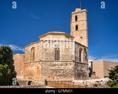 The Cathedral of Our Lady of the Snows in the Dalt Vila, the old part of Ibiza Town, Ibiza. - Stock Photo