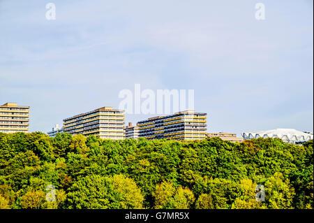 View at the University in Bochum, ruhr area, Germany; Blick auf die Ruhr Universitaet Bochum, vom Süden her - Stock Photo