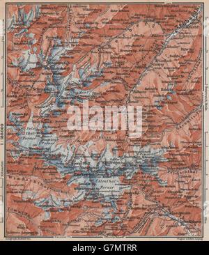 STUBAI ALPS Stubaier Alpen. Neustift im Stubaital Tirol Tyrol topo-map, 1899 - Stock Photo