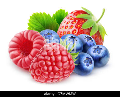Isolated fresh berries. Raspberry, blueberry and strawberry fruits isolated on white with clipping path - Stock Photo