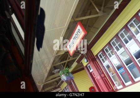 Aviemore train station sign on the Strathspey steam railway Scotland - Stock Photo