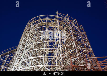 Wooden Roller Coaster - Stock Photo