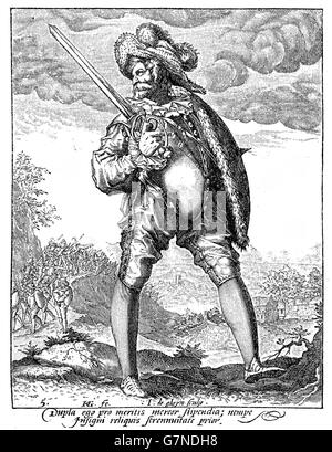 1600, illustration depicting a guard with sword and buckler of Rudolf II of Habsburg, Holy Roman Emperor, King of - Stock Photo