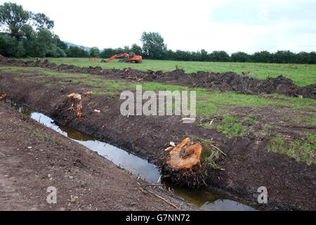 Orange 360 machine or digger being used for agricultural ditch or rhyne clearance in Somerset near Cheddar. June - Stock Photo