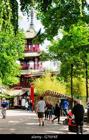 A Chinese Pergoda Temple in the Tivoli Garden amusement park and pleasure garden in Copenhagen, Denmark. - Stock Photo