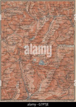 SAN MARTINO DI CASTROZZA. Paneveggio Trentino Fiero di Primero Gosaldo, 1911 map - Stock Photo