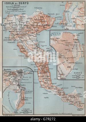 ISLAND OF CORFU town city plan Greece Kerkyra Isola di Corf