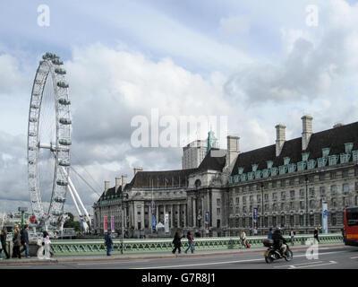 London Eye Ferris Wheel England - Stock Photo