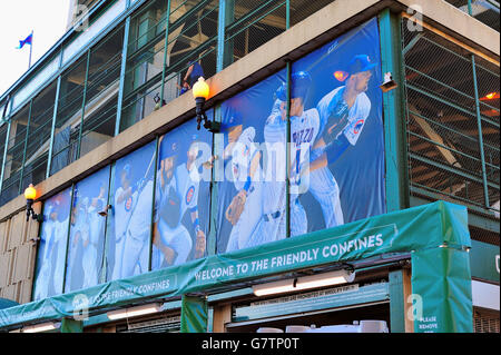 Player Murals Hung Above The Right Field Entrance To Wrigley Field, Home To  The