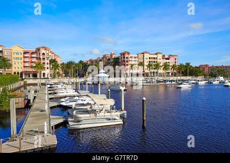 Naples Bay marina in florida USA from Tamiami Trail - Stock Photo