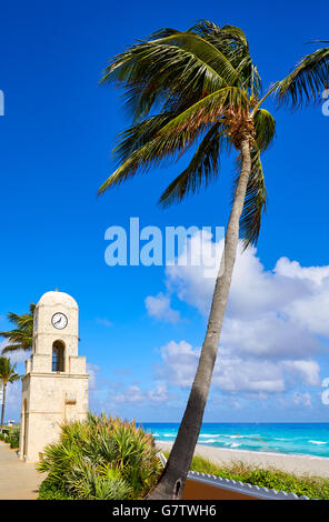Palm Beach Worth Avenue clock tower Florida USA - Stock Photo