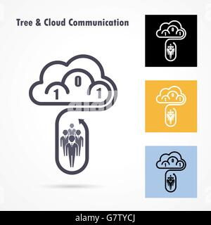 Tree and cloud logo vector design template. Computer and data transfer symbol. Business and technology concept.Vector - Stock Photo