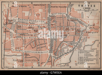 TROYES Vintage town city ville map plan carte Aube 1930 Stock