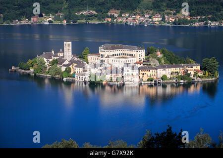 Benedictine Abbey Mater Ecclesiae on the San Giulio island on Lake Orta, Orta San Giulio, Piemont, Italy. - Stock Photo