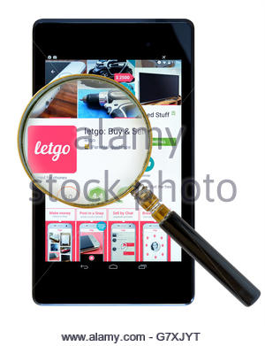 Letgo buy and sell secondhand items, app shown on a tablet computer, Dorset, England, UK - Stock Photo