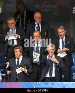 Saint-Denis, France. 27th June, 2016. UEFA Executive Committee member Wolfgang Niersbach (C-R), President of the - Stock Photo