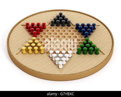 Chinese checkers board and pawns isolated on white background. 3D illustration. - Stock Photo