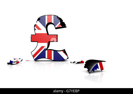 Symbol Of The Battered British Pound After The Brexit 2016 Stock