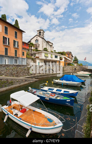 Port of Ascona, Lago Maggiore lake, Ticino, Switzerland, Europe - Stock Photo