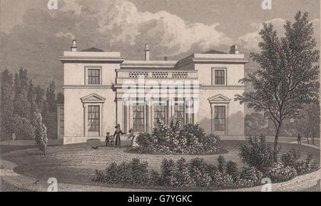 REGENT'S PARK. Hanover Lodge. London. SHEPHERD, antique print 1828 - Stock Photo