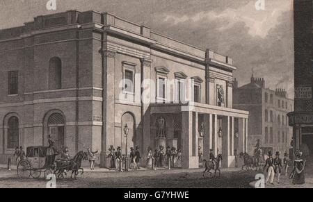 COVENT GARDEN. Theatre Royal, Drury Lane. London. SHEPHERD, antique print 1828 - Stock Photo