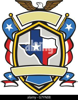 Illustration of coat of arms style emblem of Texas state map draped in its state flag with american eagle up on - Stock Photo