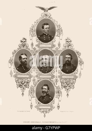 AMERICAN CIVIL WAR. Union Generals Sedgwick Terry Foster Crook Merritt, 1864 - Stock Photo