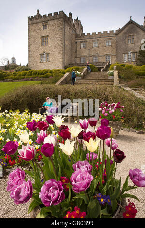 UK, Cumbria, Kendal, Sizergh, ancestral home to the Strickland family, house and garden in springtime - Stock Photo