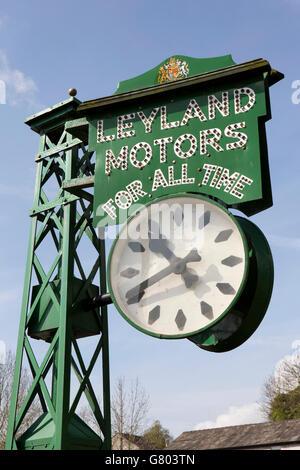 UK, Cumbria, Kendal, Highgate, Brewery Arts Centre, Leyland Motors Clock, originally sited on A6 at Shap Fell - Stock Photo