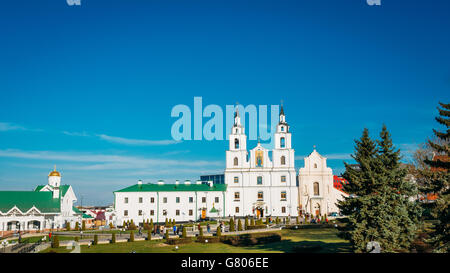 Panoramic view of The Cathedral Of Holy Spirit In Minsk - The Main Orthodox Church Of Belarus and famous landmark - Stock Photo