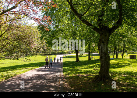 The Grugapark in Essen, Germany, a municipal park in the city center, with many plants, gardens, animals and leisure - Stock Photo