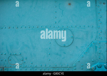 texture light skin of the aircraft with rivets - Stock Photo