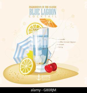 Vector illustration of popular alcoholic cocktail. Blue lagoon club alcohol shot. - Stock Photo