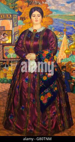 Merchant's Wife by Boris Kustodiev, 1915,  State Russian Museum, Saint Petersburg, Russia - Stock Photo