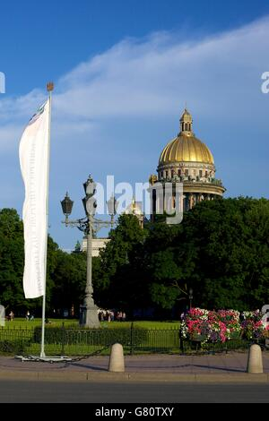 St Isaacs Cathedral from Palace Embankment,  St Petersburg, Russia - Stock Photo
